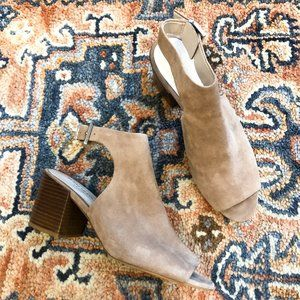 Kenneth Cole Val Leather Open Toe Block Bootie 8.5